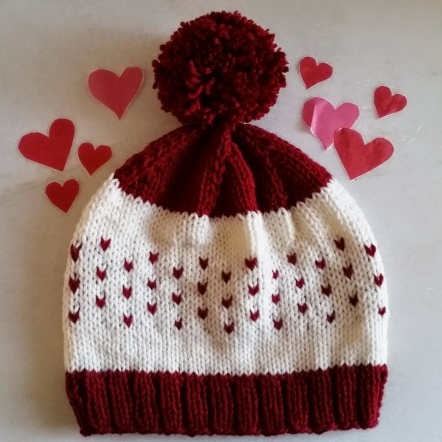 BE MINE VALENTINE'S HAT Pompom Knit Hat Knitting PDF Pattern